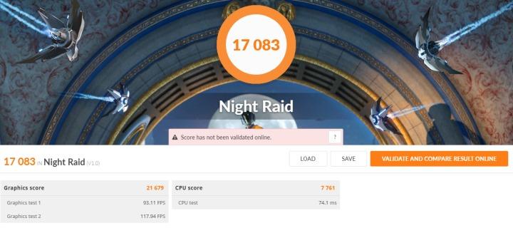 針對內建顯示的Night Raid項目支援DirectX 12,成績為17083分。