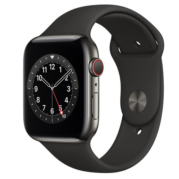 Apple Watch Series 6 (GPS + 行動網路);44 公釐石墨色不鏽鋼錶殼;黑色運動型錶帶 - 標準