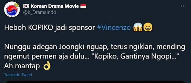 kopiko masuk di kredit drama song joong ki yakni vincenzo