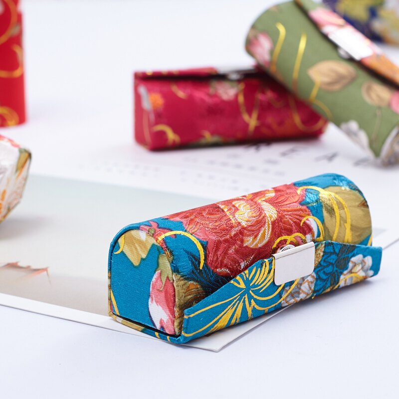 收納盒 錦緞絲綢口紅盒 唇膏盒 金絲單條裝口紅盒 中式收納盒 唇膏盒帶鏡子