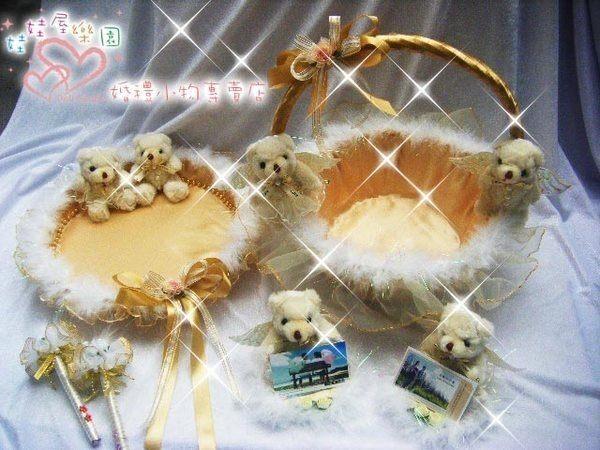 娃娃屋樂園~金色天使情人喜糖籃6件組 每組1500元/喜糖籃/簽名筆/婚禮小物/花瓣/二次進場