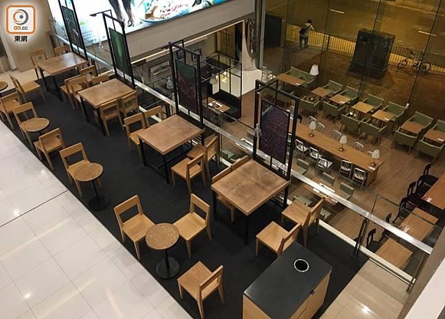 屯門巿廣場內的食肆已關門。(胡淑珍攝)