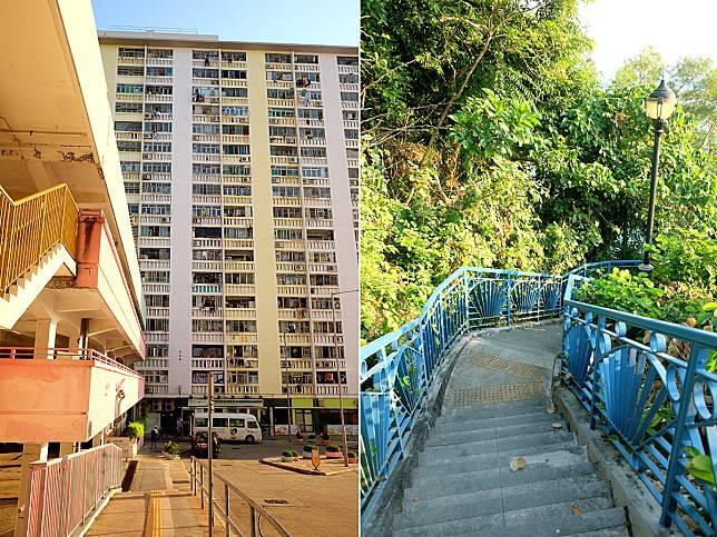 經華富邨進入瀑布灣公園,沿著藍色欄杆路下行,可先參觀最南端泳棚的「神佛群」。