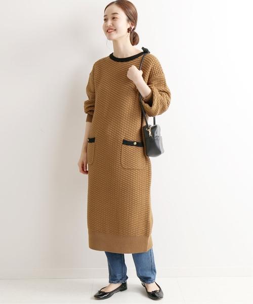 復古典雅直筒版型針織連身裙