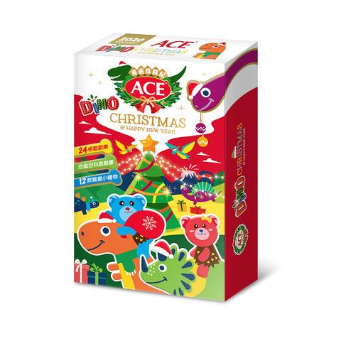 ★比利時進口~ACE軟糖2020聖誕限量款,錯過就沒囉!★內有24格倒數聖誕戳戳樂!★豐富贈品:1本A4恐龍百科遊戲書、1個鋁箔造型氣球、4個恐龍模型、2個印章、4張雷射貼紙。★內含三種綜合口味軟糖1
