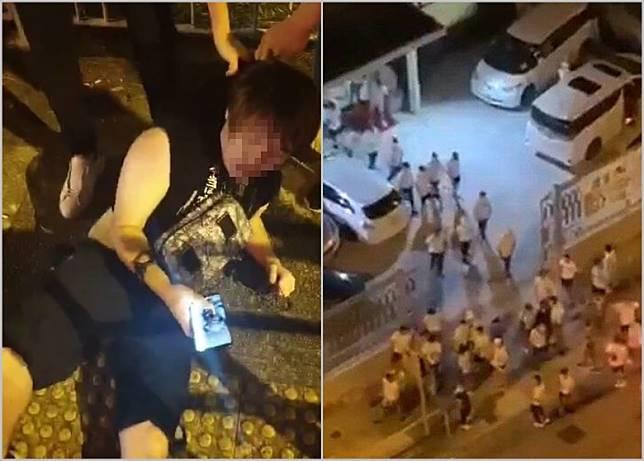遇襲黑衣男被2白衣男拖在地上。(互聯網)