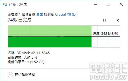以 Windows 10 實際傳輸 3DMark 測試壓縮檔約 6GB,Crucial X8 寫入速度約為 550MB/s 左右。