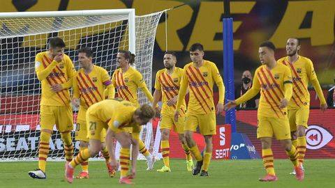 Ilustrasi saat para pemain Barcelona selebrasi. (AFP/CRISTINA QUICLER)
