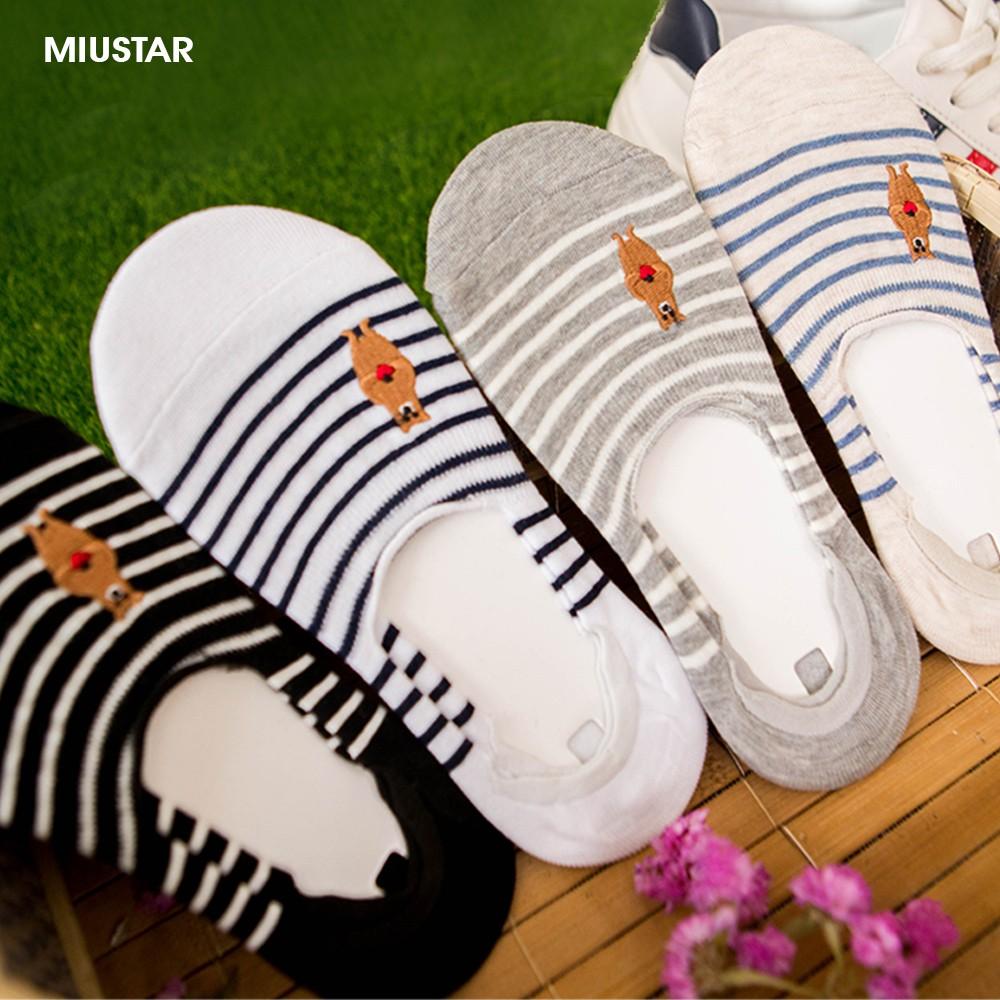 MIUSTAR 日系簡約 刺繡熊熊條紋防滑船型襪(共1色)0319 現貨+預購【NG0356GW】