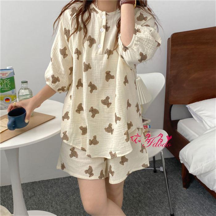 睡衣 睡衣套裝 居家服 韓國小熊睡衣 小熊睡衣套裝 親膚透氣棉紗睡衣 依多多