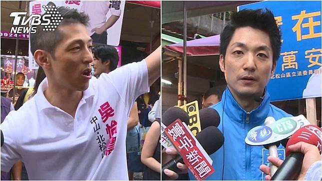 民進黨立委參選人吳怡農(左)對上拚連任的國民黨立委蔣萬安(右)。圖/TVBS資料照