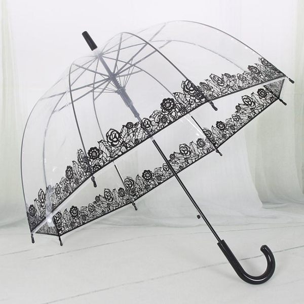 個性創意洛麗塔風透明傘阿波羅傘玫瑰花長柄傘楓葉雨傘蘑菇公主傘