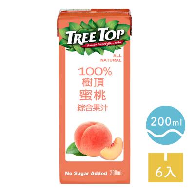 品名: [TreeTop樹頂] 100%蜜桃綜合果汁 (200ml/罐x6罐/組) 成分: 蘋果汁(水、蘋果濃縮汁)、蜜桃汁(水、蜜桃濃縮汁) 保存期限: 12個月 產地: 台灣