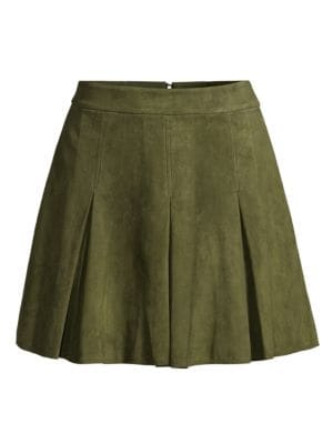 Vintage in sensibility, box pleats lend a textural finish to this rustic suede skirt.; Banded waist;