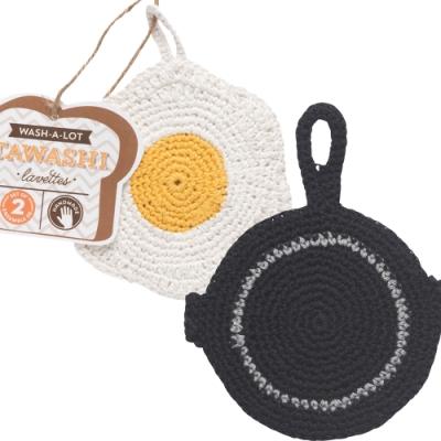 純棉手鉤編織而成 柔軟不傷餐具器皿 吊掛收納保持乾燥