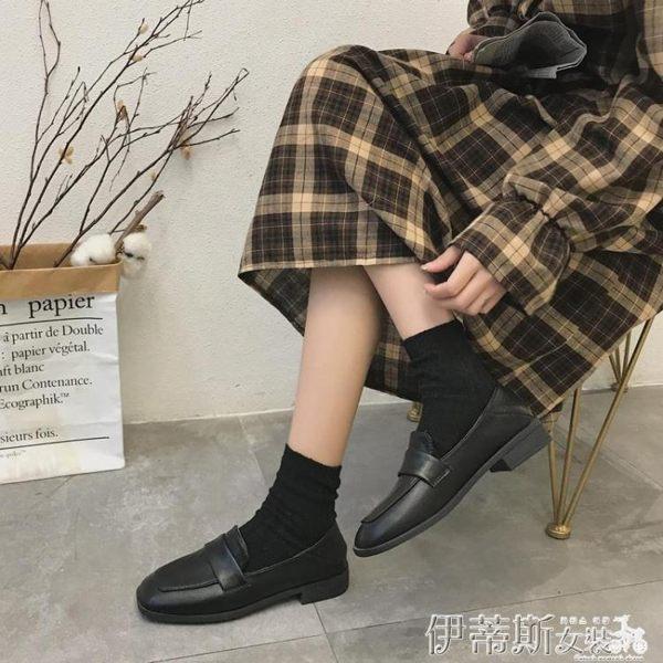 紳士鞋復古英倫學院風潮方頭百搭ins小皮鞋女2019春新款超火樂福單鞋 伊蒂斯女裝