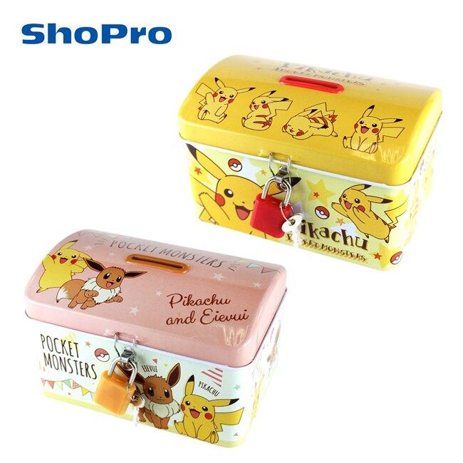 【日本正版】寶可夢 鐵盒 存錢筒 小費盒 收納盒 附鑰匙 可上鎖 皮卡丘 伊布 神奇寶貝