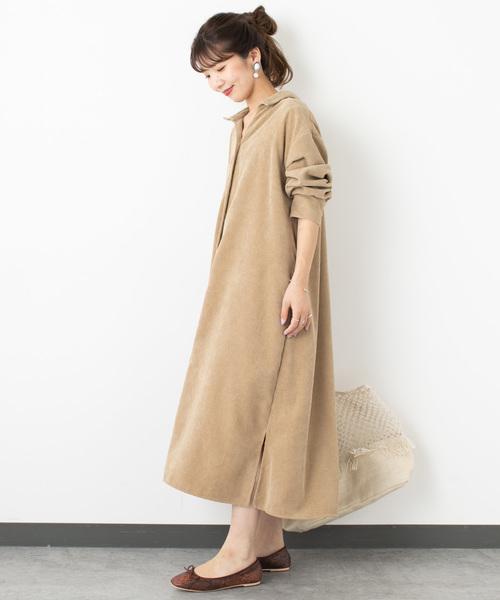 燈芯絨襯衫連身裙