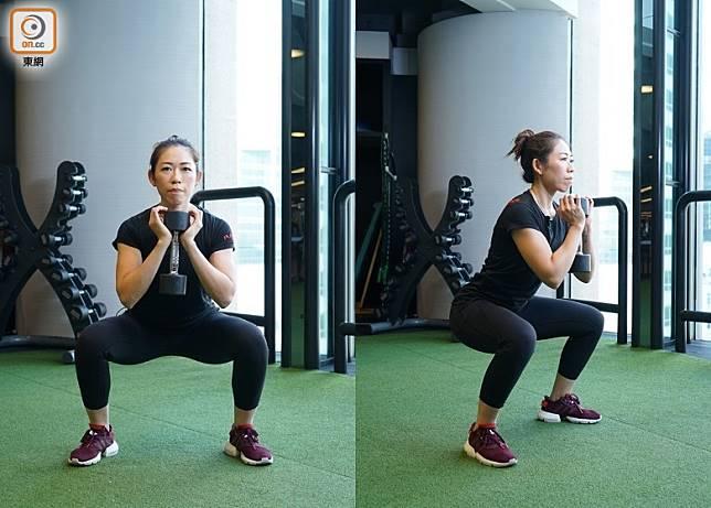 握緊啞鈴,吸氣時蹲下,呼氣時上升,留意不要將重心傾前,重複動作做15下為1組,連續做4組。(胡振文攝)