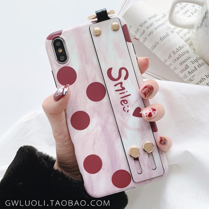 復古波點iPhonex手機殼7plus腕帶少女蘋果8/6s/xr/xs max磨砂軟殼