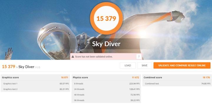 Tiger Lake試作機在反映輕量遊戲效能的3DMark Sky Diver項目能得到15379分。