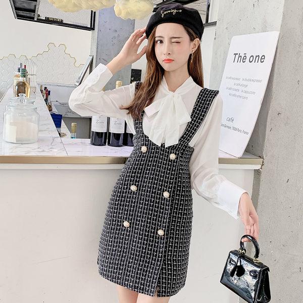 VK精品服飾 韓國風蝴蝶結襯衫格紋背心裙套裝長袖裙裝