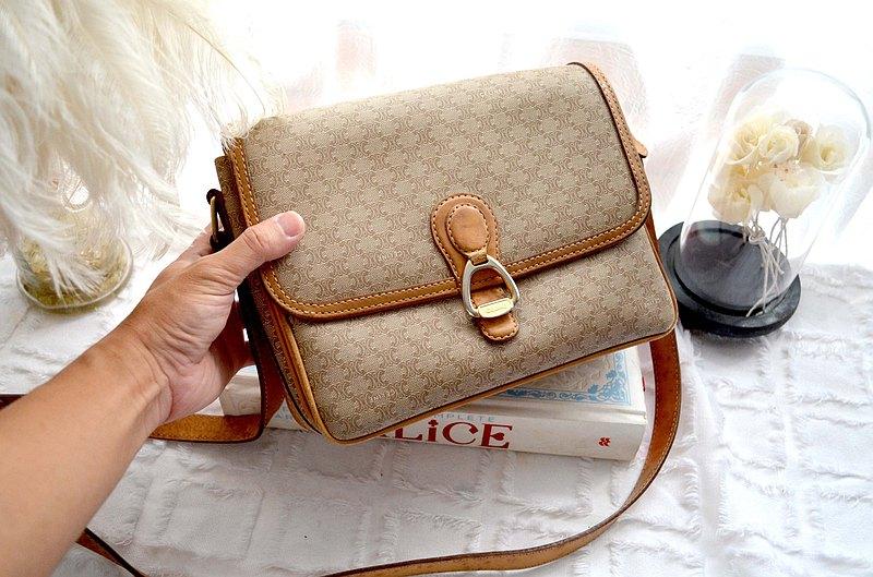 中古CELINE PU +真皮三格手袋包包 意大利高級二手古著珠寶首飾 高貴優雅復古造型