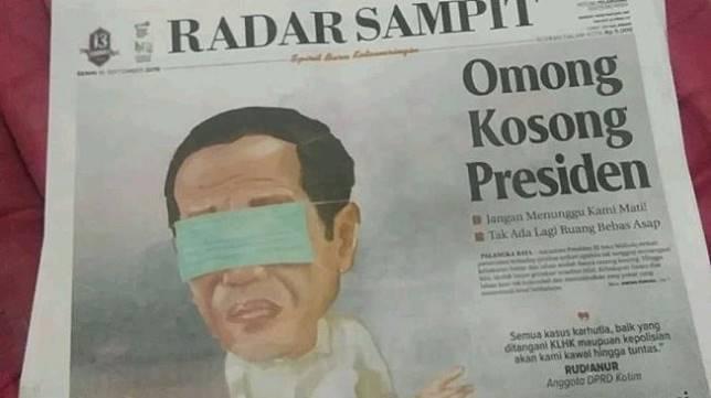 Ilustrasi Jokowi di Koran Radar Sampit - (Twitter/@babaosman1299)