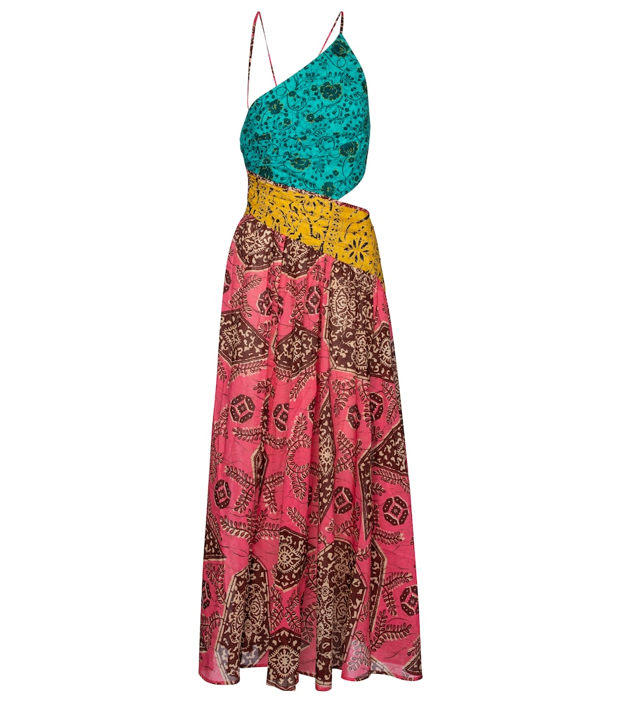With its eclectic floral print and rainbow colored hue, this cotton maxi dress displays the vacation
