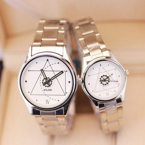 歐美簡約休閒鋼帶男女士鋼鍊錶學生手錶正韓時尚密碼個性情侶腕錶【全館免運限時八五折】