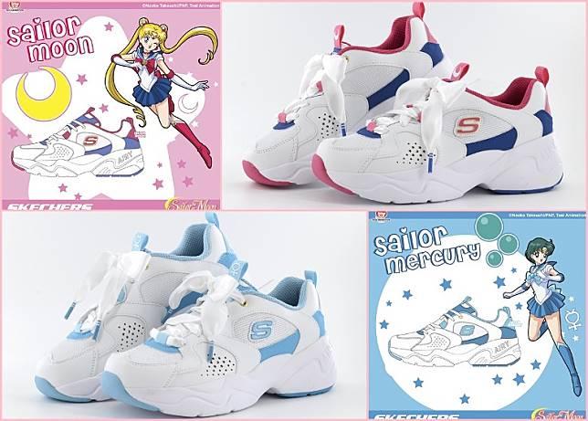 (上)Sailor Moon款式以桃紅和寶藍色作主調;(下)Sailor Mercury 款式以湖水藍配白色鞋身。(互聯網)