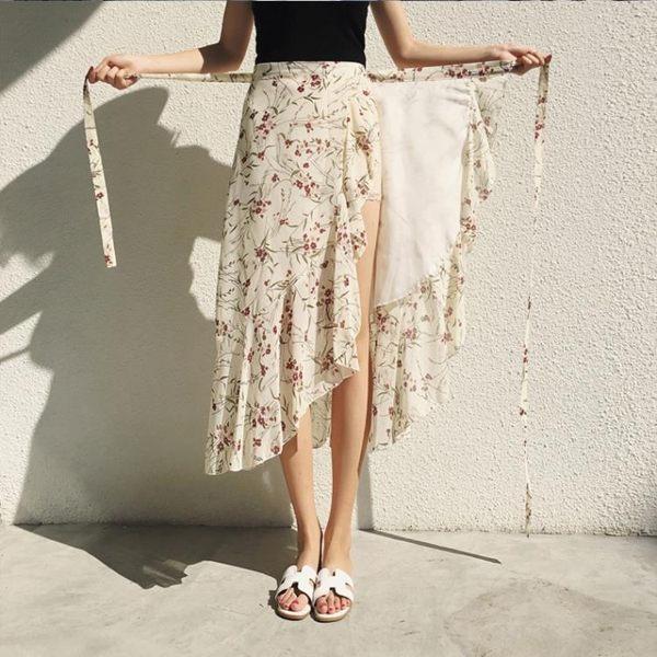 一片式半身裙女夏季包臀裹裙不規則魚尾裙碎花雪紡沙灘裙長裙 熊熊物語
