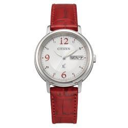 CITIZEN星辰 亞洲限定 光動能優雅胭脂紅皮革腕錶 EW2420-00A