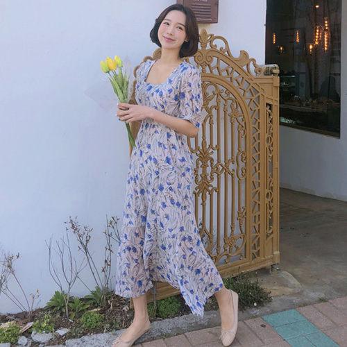方領雪紡短袖洋裝 韓系 輕熟女碎花連身裙 艾爾莎【TGK7575】
