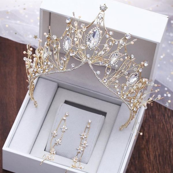 新娘金色大皇冠新款結婚發飾婚紗禮服配飾品歐式手工頭飾王冠耳環
