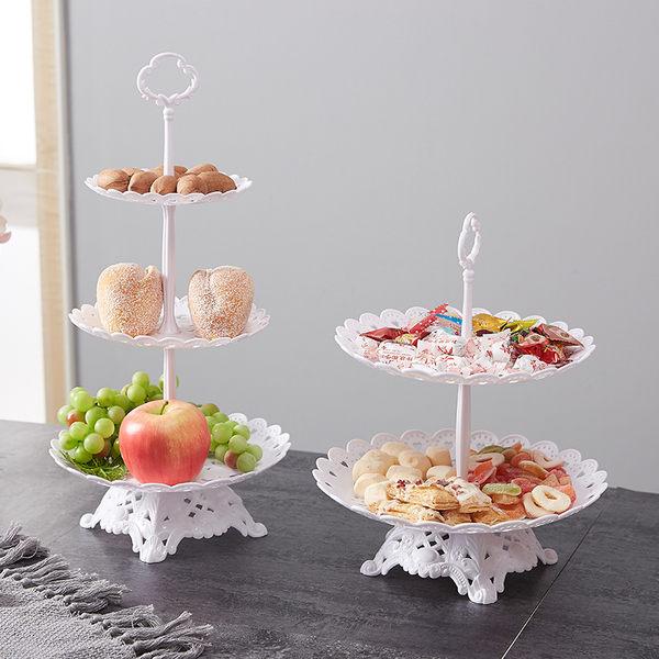 塑料水果盤家用客廳三層蛋糕架歐式幹果盤下午茶點心台甜品架雙層