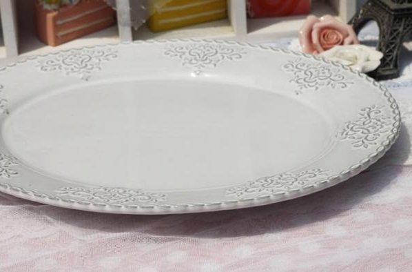 歐式浮雕花紋橢圓形陶瓷盤西餐盤 牛排盤 點心盤 水果盤 披薩盤子