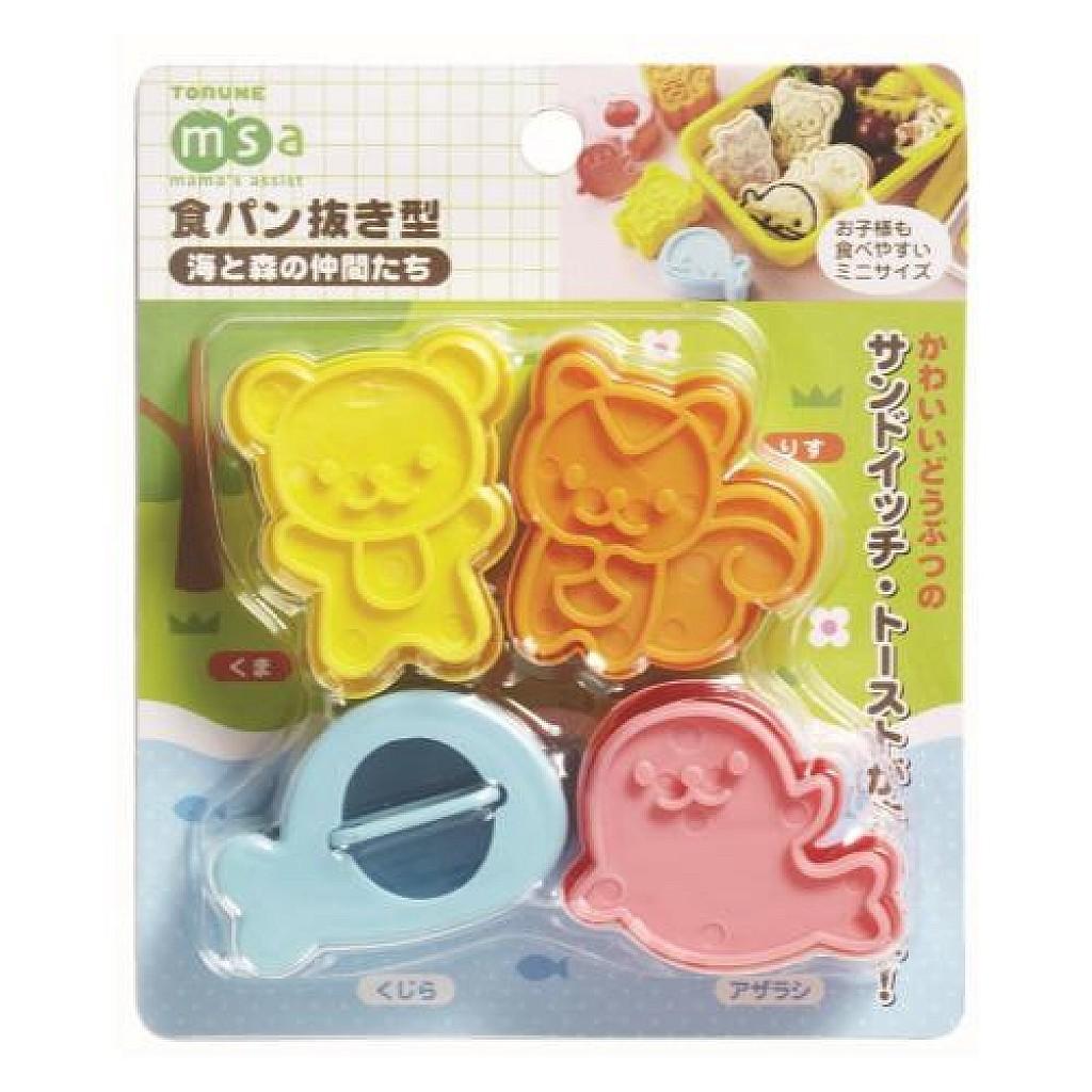 日本 TORUNE 4入動物吐司壓模(鯨魚 海豹 松鼠 小熊) (0969)