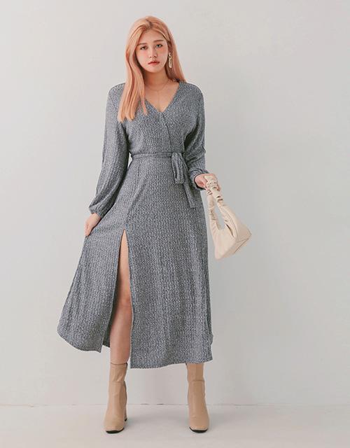 V領雙開衩針織洋裝(附腰帶)