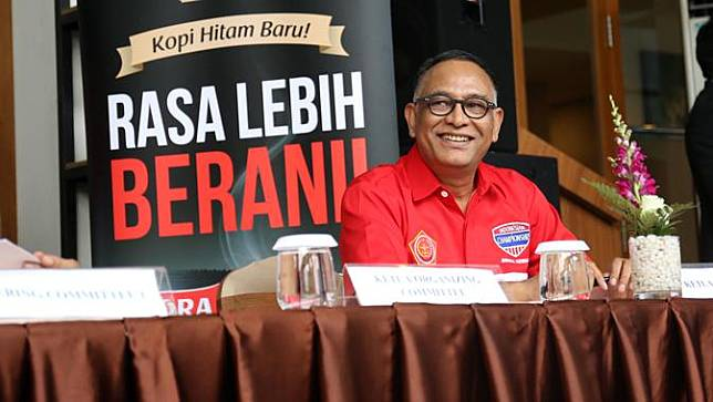 CEO Mahaka Sports, Hasani Abdulgani saat mengikuti Drawing babak 8 besar Piala Jenderal Sudirman di Hotel Century, Senayan, Jakarta, Kamis (3/12/2015). (SIAPGRAK.COM/Nicklas Hanoatubun)