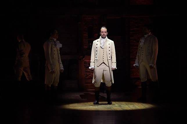 Actor, composer Lin-Manuel Miranda performs on stage during 'Hamilton' GRAMMY performance for The 58th GRAMMY Awards at Richard Rodgers Theater on February 15, 2016 in New York City.