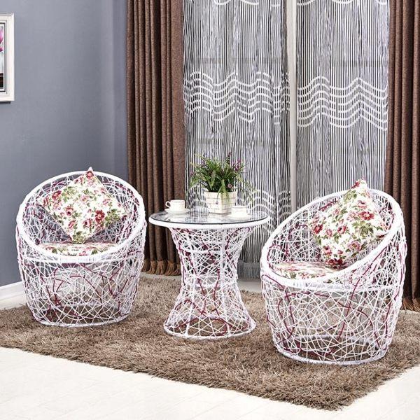 陽台桌椅藤椅三件套組合簡約休閒戶外藤編家具單人現代椅子小茶幾MKS歐歐流行館
