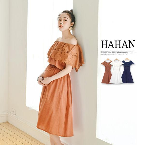 【HC4845】燒花布蕾絲一字領高腰傘襬洋裝