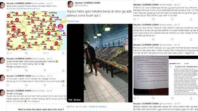 Curhat mahasiswi Indonesia di China yang terjebak dengan virus corona (twitter @verynotbery)