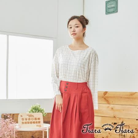 【Tiara Tiara】百貨同步 自然風玫瑰小花後開襟長袖上衣(白/藍/黃)
