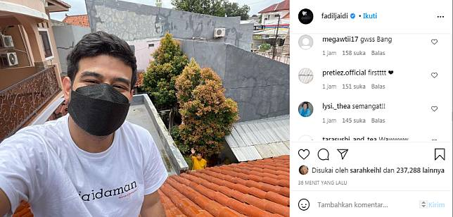 Fadil Jaidi positif Covid-19 sedang jalani isolasi mandiri di rumahnya