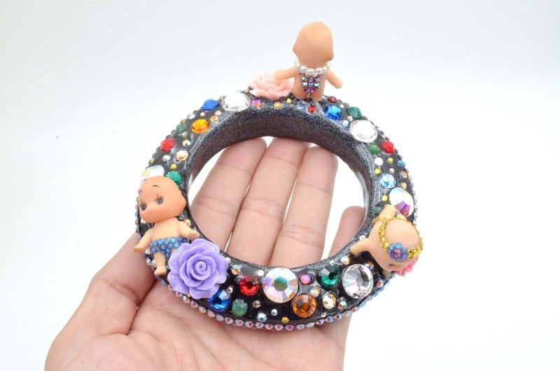 外星人星球娃娃手鐲 珠寶風施華洛水晶石玫瑰花手工裝飾獨一無二