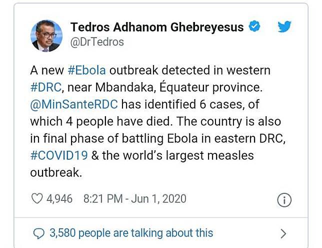 WHO Umumkan Adanya Kasus Baru Virus Ebola di Kongo
