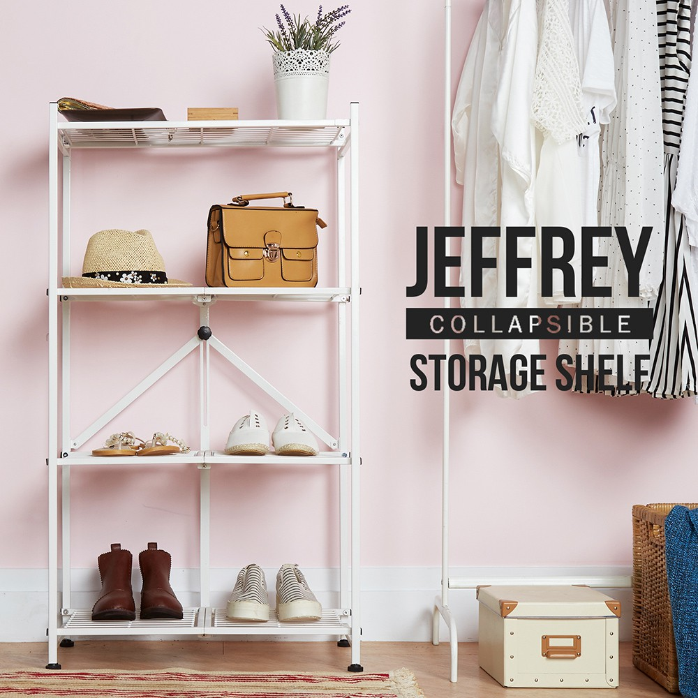 H&D東稻家居 / Jeffrey傑佛瑞可折疊四層收納層架/儲物架/收納架(2色)