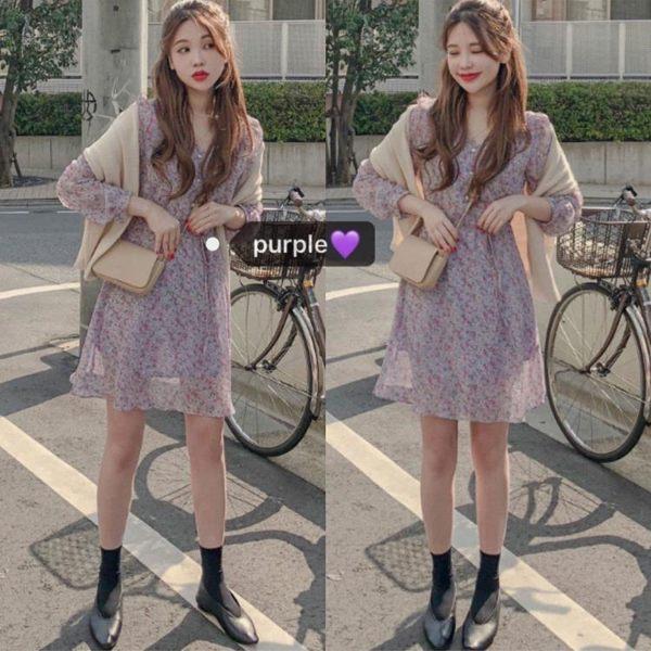 春夏chic甜美少女紫色減齡復古碎花長袖收腰小個子短款洋裝 安妮塔小舖